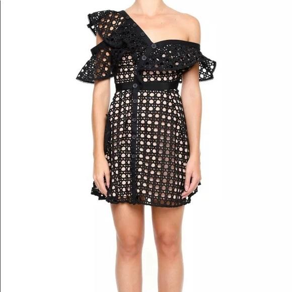 Self-Portrait Dresses & Skirts - Self-Portrait Black Guipure Frill Dress US4/UK8